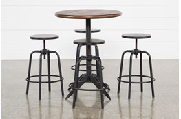 Oslo 5 Piece Pub Set With Millie Adjustable Stools