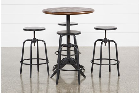 Thor 5 Piece Pub Set With Millie Adjustable Stools