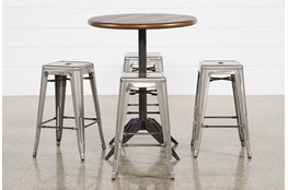 Oslo 5 Piece Pub Set With Radical Silver 26 Inch Stools