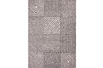 94X134 Rug-Charcoal & Ivory Shaggy Patchwork