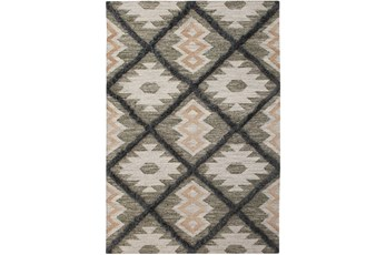 5'x8' Rug-Charcoal & Black Totem Triangle