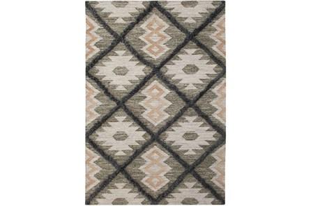 60X96 Rug-Charcoal & Black Totem Triangle