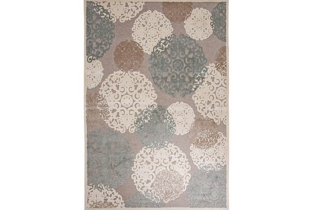 96X120 Rug-Teal & Taupe Caspian Bubble