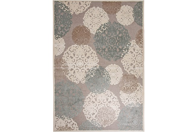 96X120 Rug-Teal & Taupe Caspian Bubble - 360