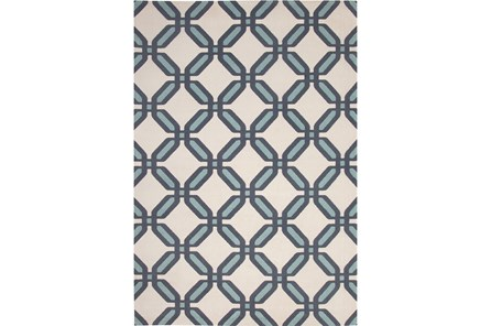 60X96 Rug-Aqua & Blue Lattice Low Pile