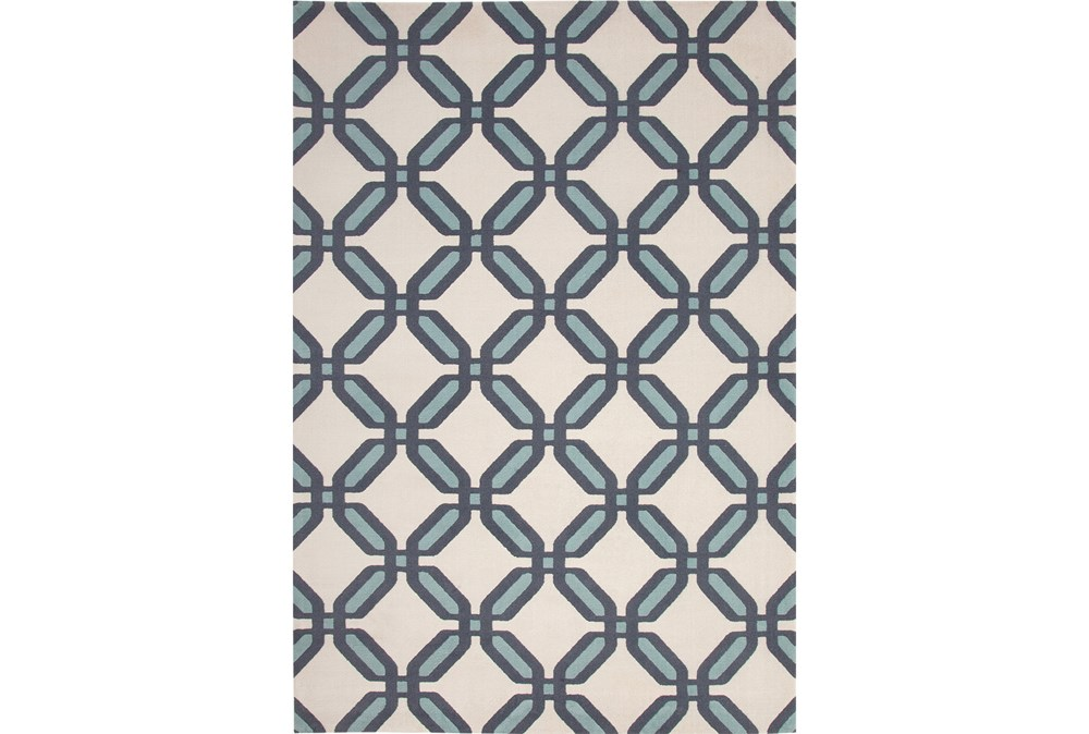 96X120 Rug-Aqua & Blue Lattice Low Pile