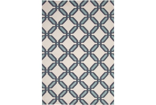 96X120 Rug-Aqua & Blue Lattice Low Pile - 360