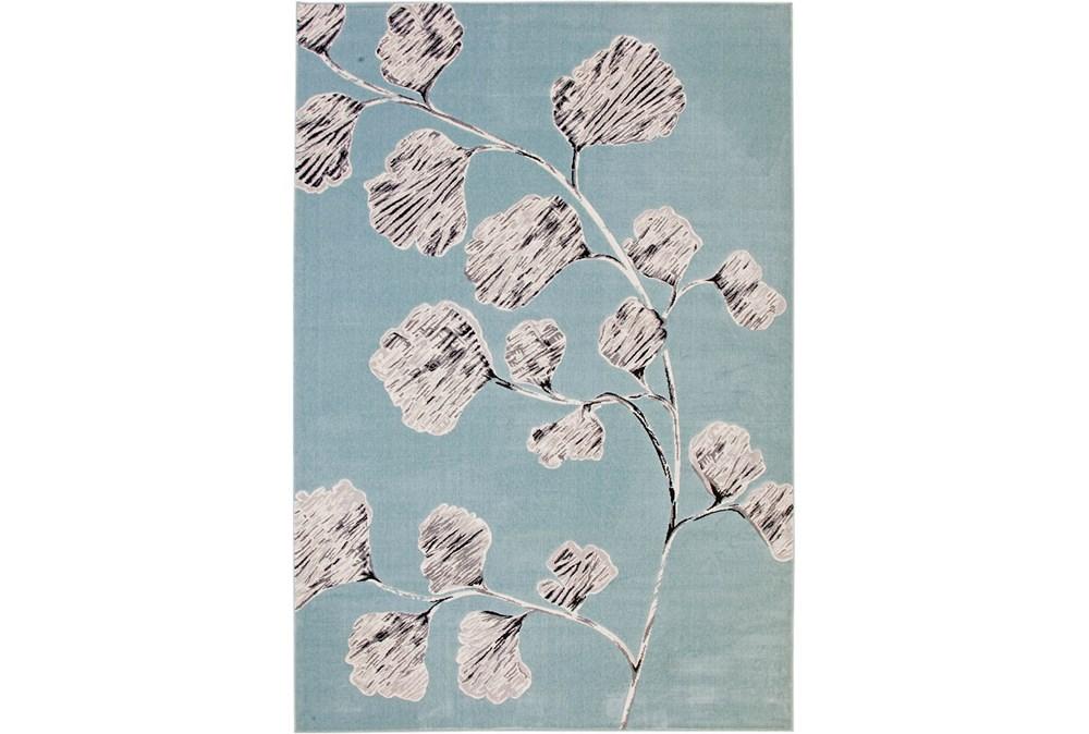 60X96 Rug-Charcoal & Aqua Flowers Low Pile