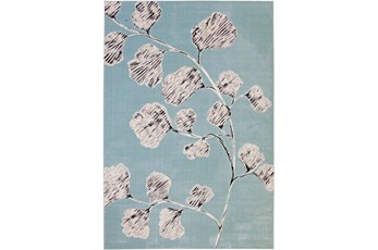 5'x8' Rug-Charcoal & Aqua Flowers Low Pile