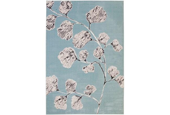 60X96 Rug-Charcoal & Aqua Flowers Low Pile - 360