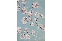 96X120 Rug-Charcoal & Aqua Flowers Low Pile