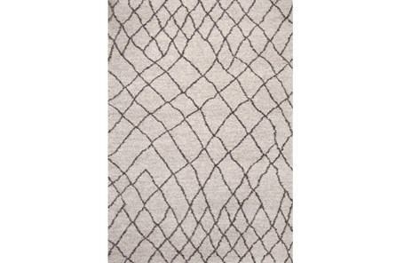 63X90 Rug-Ivory & Graphite Shaggy Diamonds