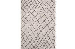 94X134 Rug-Ivory & Graphite Shaggy Diamonds