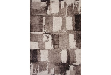 "5'3""x7'5"" Rug-Charcoal & Ivory Shaggy Abstract Blocks"