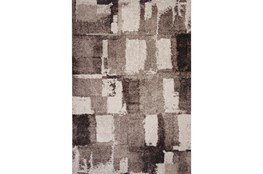 94X134 Rug-Charcoal & Ivory Shaggy Abstract Blocks
