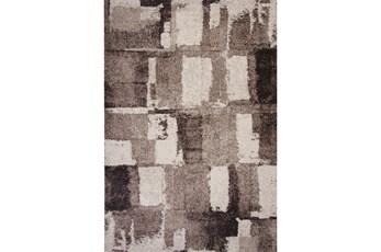 94X134 Rug-Charcoal & Ivory Shaggy Abstract Blocks