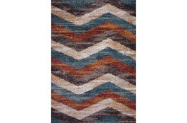 94X134 Rug-Red & Teal Vertical Chevron