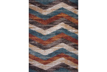 """7'8""""x11'2"""" Rug-Red & Teal Vertical Chevron"""