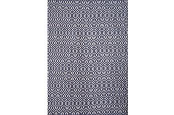 93X126 Rug-Navy & Ivory Geometric Flatweave