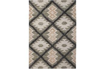 8'x10' Rug-Charcoal & Black Totem Triangle