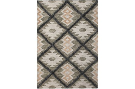 96X120 Rug-Charcoal & Black Totem Triangle
