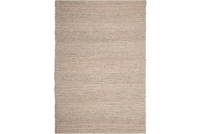 60X96 Rug-Taupe Chunky Wool Knit - 360