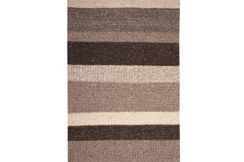 96X120 Rug-Natural Chunky Wool Knit Stripe