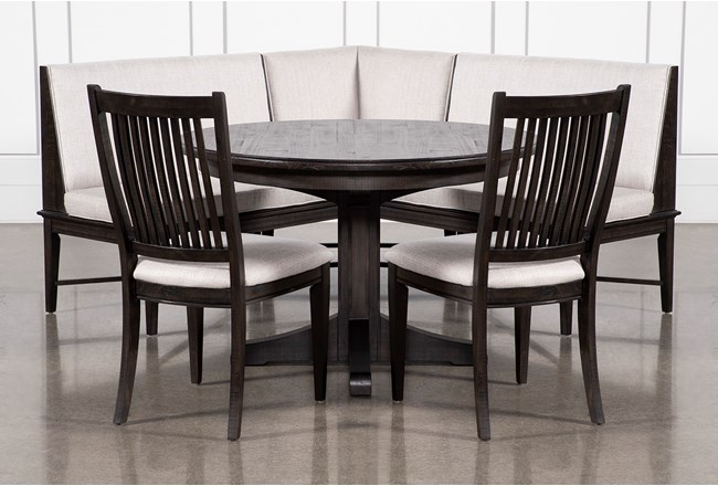 Valencia 4 Piece Banquette Dining Set With Valecia Upholstered Seat Chair - 360