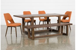 Luna 6 Piece Dining Set With Zuma Orange Chair