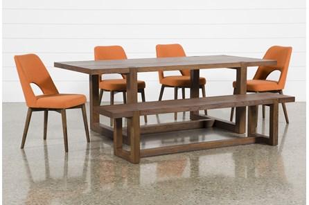 Luna 6 Piece Dining Set With Zuma Orange Chair