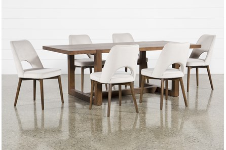 Luna 7 Piece Dining Set With Zuma Grey Chair