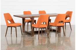Luna 7 Piece Dining Set With Zuma Orange Chair