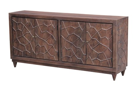 Chocolate Brown Hammered 4 Door Sideboard