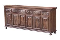 "Chocolate Brown Jumbo 6 Door 97"" Sideboard"