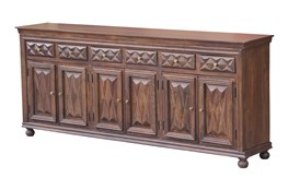 "Chocolate Brown Jumbo 6 Door 97"" Sideboard"