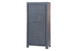 Black Corrugated 2 Door Tall Cabinet