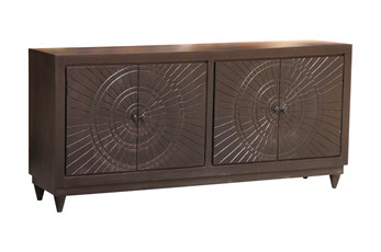 "Black Hand Carved 4 Door 80"" Sideboard"
