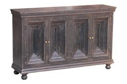 """Antique Black Crown Mold 4 Door 80"""" Sideboard"""