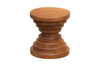 Chocolate Brown Round Ribbed Stool