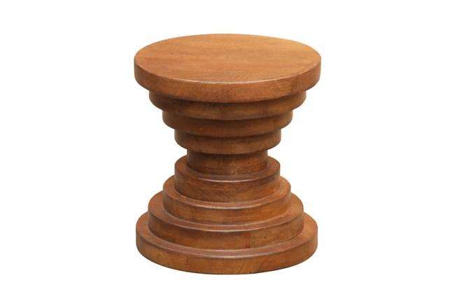 Chocolate Brown Round Ribbed Stool  - 360
