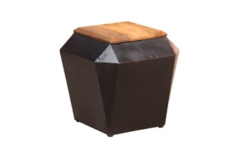 Pyramid Mixed Wood + Metal Accent Table