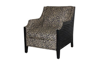 Black + Tan Wood Frame Chair