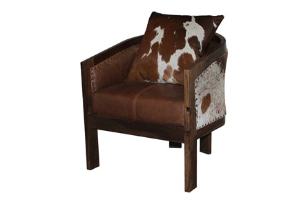 Brown Curved Chair With Cowhide Pillow - Main