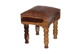 Brown Leather Square Leather Carved Stool