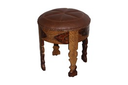 Brown Round Leather Carved Stool