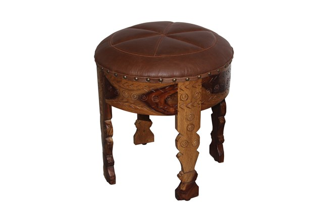 Brown Round Leather Carved Stool  - 360