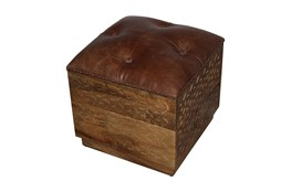 Brown Square Leather Carved Stool