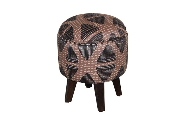 Round Taupe Patterned Ottoman - 360