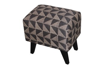 Rectangle Brown Triangle Print Ottoman