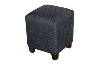 Square Black Stitched Pouf